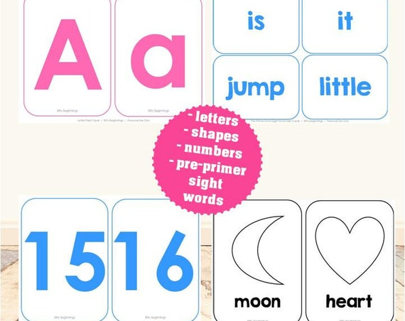 Preschool Flash Card Set | Uppercase Letters, Lowercase Letters, Numbers 1-20, 16 Basic Shapes, Pre-Primer Dolch Sight Words