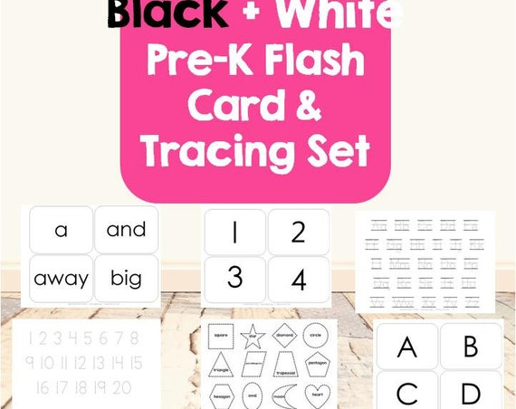 Black & White Pre-K Flash Card and Tracing Set