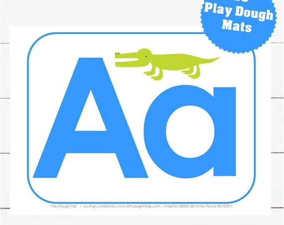 A-Z Play Dough Mats - Blue
