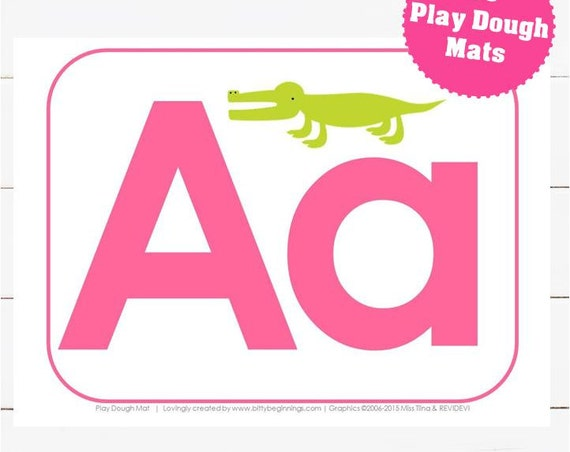 A-Z Play Dough Mats - Pink