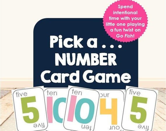 Pick a Number Card Game | Go Fish | Gameschooling | homeschool game | numbers | 123s | early learning | morning basket