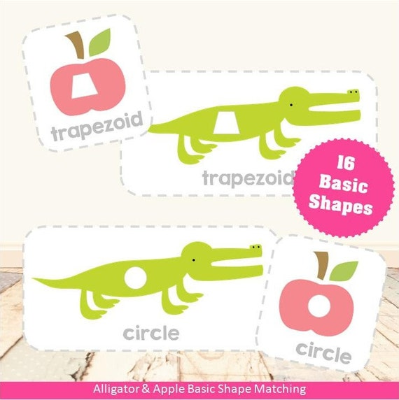 Alligator & Apple Basic Shape Matching Game