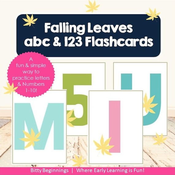 ABC & 123 Flashcards - Falling Leaves Collection