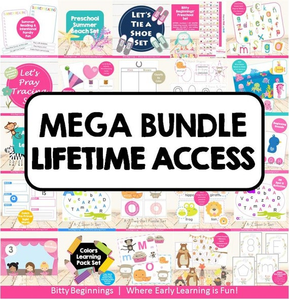 MEGA Bundle Lifetime Access | preschool | totschool | early learning | printables | learning activities