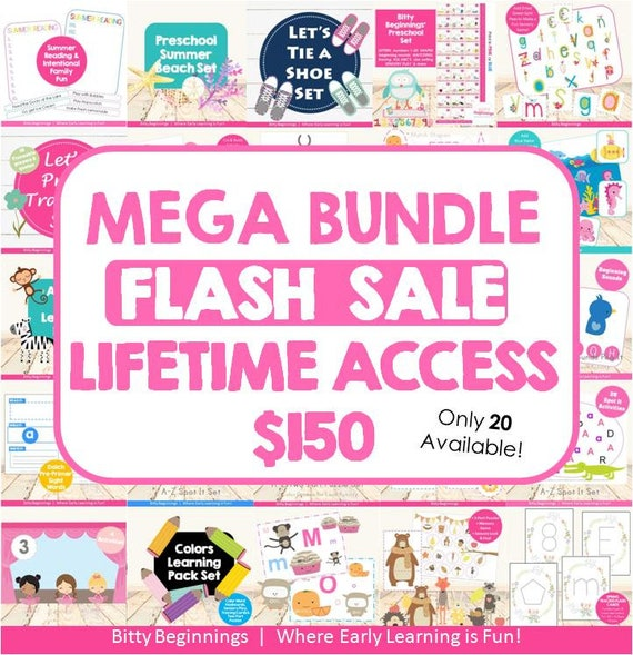MEGA Bundle FLASH SALE Lifetime Access | preschool | totschool | early learning | printables | learning activities