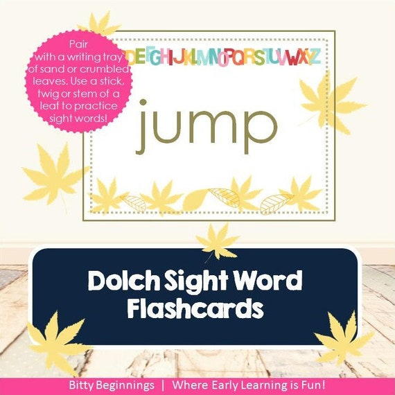 Dolch Sight Word Flashcard Set - Falling Leaves Collection