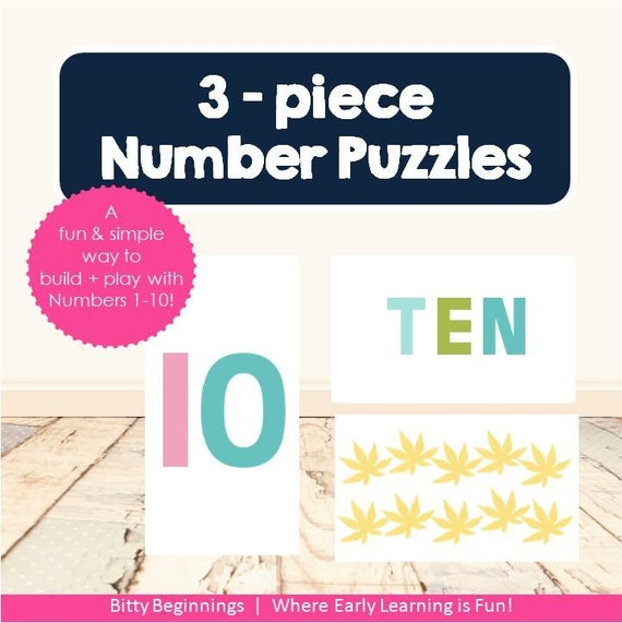 3-Piece Number Puzzles | Counting | Numbers 1-10 | Puzzles | Preschool Activity