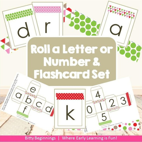 Christmas Roll a Letter or Number & Flashcard Set