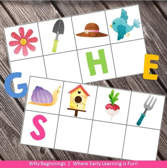 Beginning Sound Strip Cards - Garden