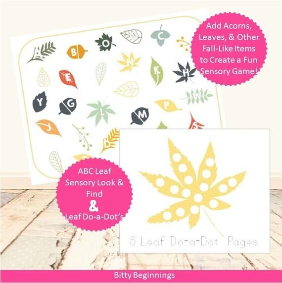 ABC Letter Leaf Hunt Sensory Look & Find + Leaf Do-A-Dot