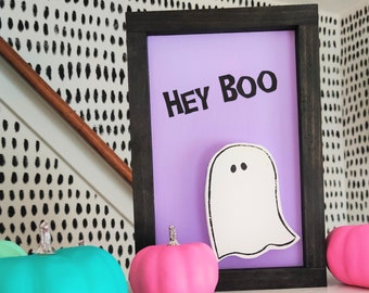 Purple Ghost w/ Hey Boo Halloween Sign - Wooden Ghost Cut-out Sign