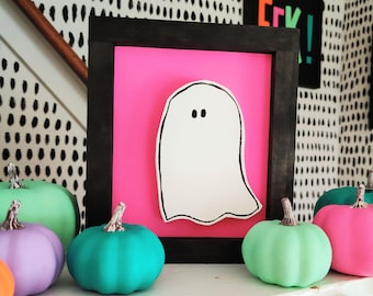 Pink Ghost Halloween Sign - Wooden Ghost Cut-out Sign