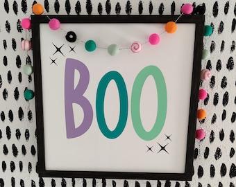 BOO Halloween Sign - Colorful Halloween Decor