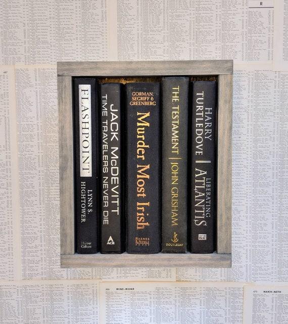 Gift For Book Lover Wooden Book Sign Framed Library Fake Etsy
