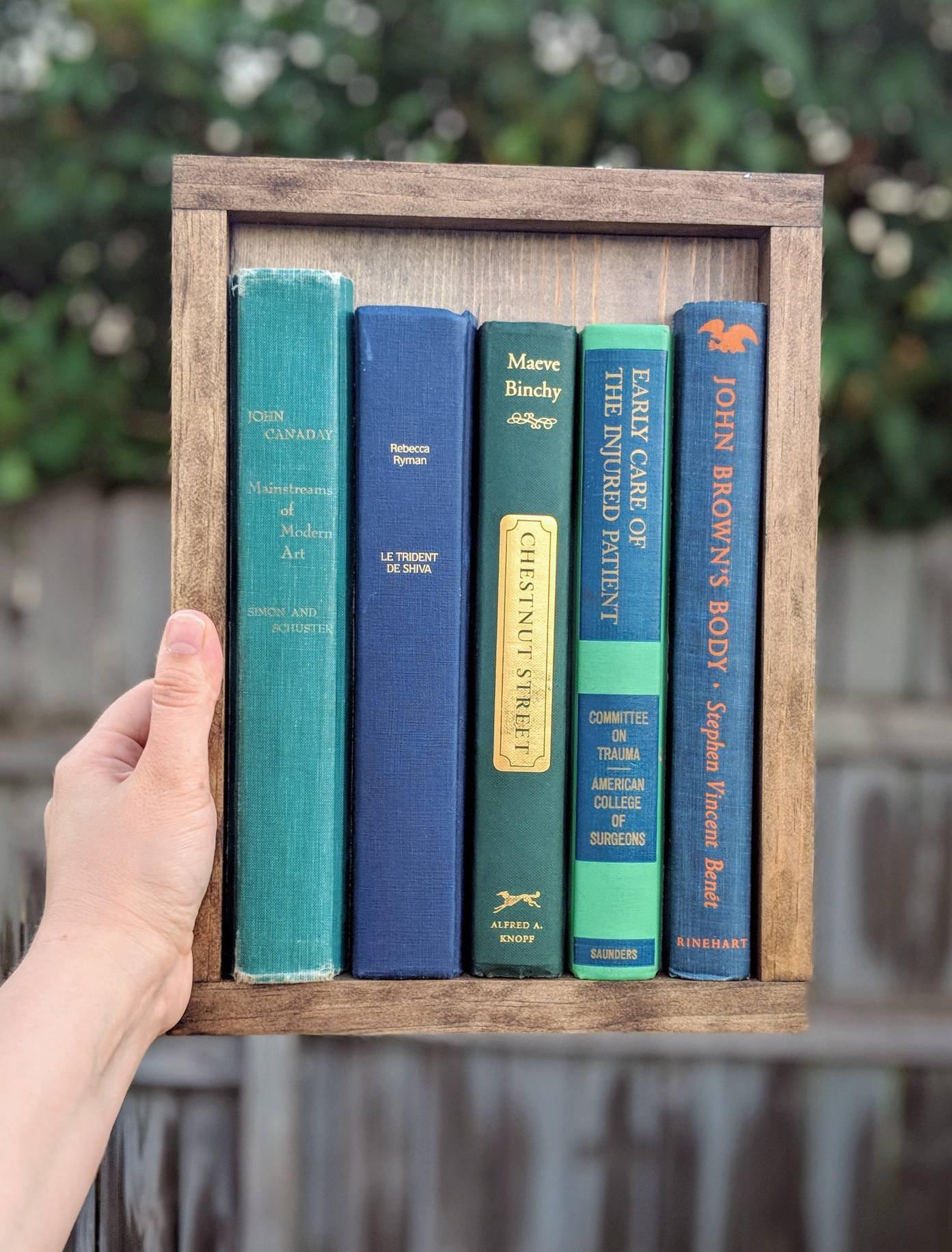 Gerahmte Buchkunst Holz-Buch-Zeichen eingerahmt Bibliothek | Etsy