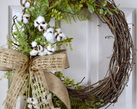 Cotton & Burlap Grapevine with Foliage; Vine Wreath; Primitive Country Door Decor Wreath; Rustic Grapevine Wreath with Cotton Sprays