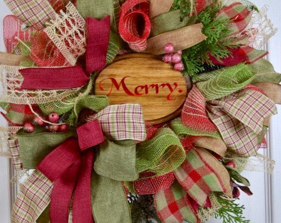 Merry Burlap Mesh Green Red Burgundy Wreath with Berries; Christmas Wreath; Classic Traditional Christmas Decor; Winter Door Decor Wreath