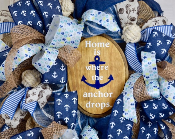 Home is Where the Anchor Drops Denim and Natural Jute Mesh; Nautical Beach Shore Wreath; Beach Navy and Beige Burlap Anchor Summer Decor