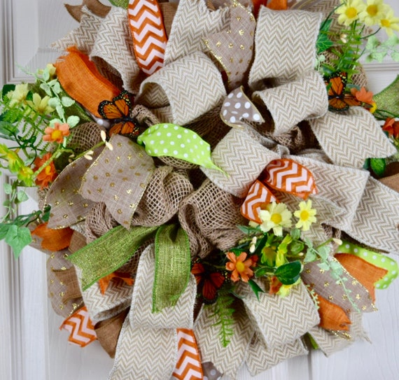 Orange and Green Daisy Spring Burlap with Butterflies; Everyday Wreath with Flowers; Summer Floral Wreath Yellow Orange Green Home Decor