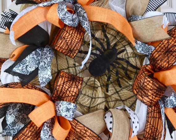 Orange Black and Jute Burlap Spider Web Wreath; Fall Wreath Fall Door Decor Halloween Wreath Door Decor; Spider Wreath Decor Halloween Decor