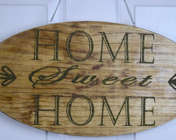 Home Sweet Home Hanging Wood Plaque; Welcome Door Decor; Wood Welcome Decor; Front Door Wreath; Customized Door Decor; Black Gold Glitter