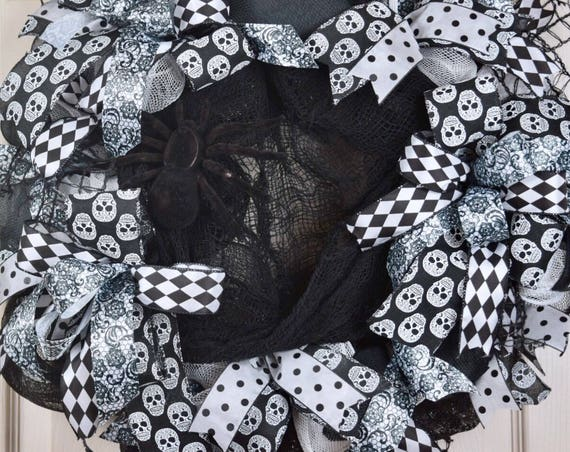 Halloween Black and White Mesh Wreath with Spider Web and Creepy Cloth; Fall Wreath Fall Door Decor Halloween Door Decor; Skull Door Decor