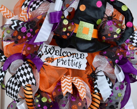 Welcome My Pretties Witch Hat and Legs Mesh Wreath with Glitter Spiders; Halloween Witch Decor Wreath; Fall Decor Wreath; Front Door Wreath