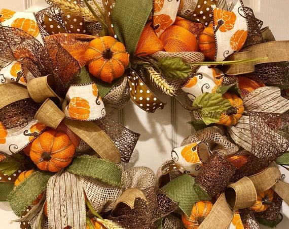 Orange Burlap and Mesh Wreath with Burlap Pumpkins and Wheat Sprays; Thanksgiving Door Decor; Fall Door Decor; Burlap Pumpkin Decor; Country