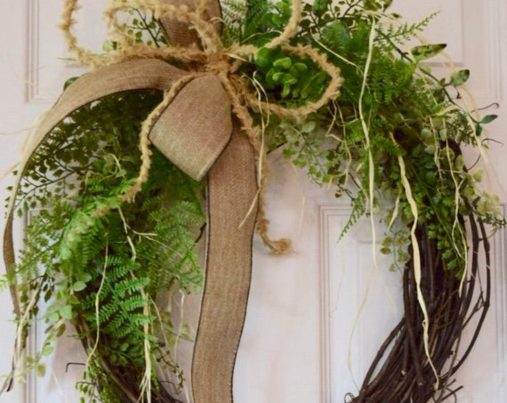 Foliage and Raffia Grapevine Wreath with Burlap Bow; Everyday Wreath; Floral Wreath; Spring Wreath Door Decor; Summer Wreath Door Decor