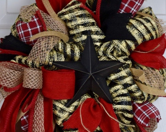 Black Tin Star Red Natural Black Plaid Burlap Wreath; Red Black Primitive Wreath; Beige Red Black Country Wreath; Red Black Rustic Wreath