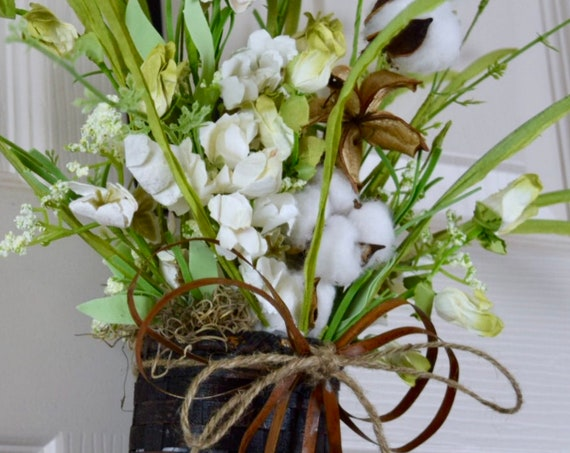 Primitive Black Hanging Basket with Rusty Tin Bow and White Wildflowers and Cotton Pods; Rustic Country Decor; Everyday Door Decor; Grungy
