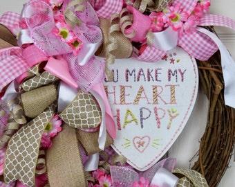 Pink & White You Make My Heart Happy Valentine Grapevine Wreath with Pink Daisies; Love Wreath; Valentine's Decor; Girl's Room Nursery Decor