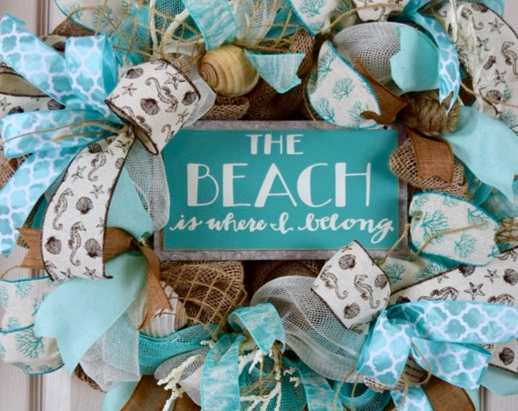 Beach is Where I Belong Burlap and Mesh Wreath with Coral and Sea Shells; Beach Wreath; Shore Wreath; Beach House Wreath; Shore House Decor