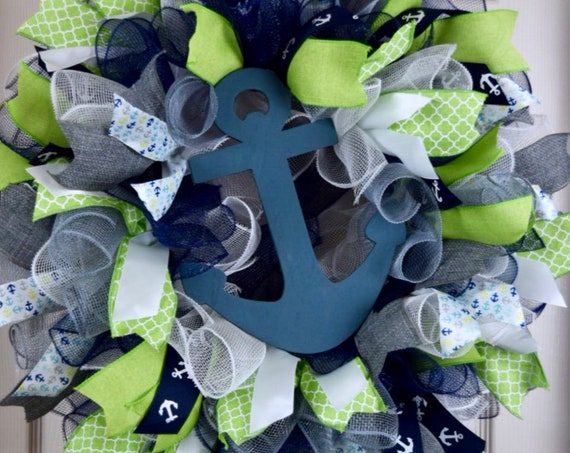 Lime Green, Navy and Grey Ruffle Mesh Wreath with Anchor; Nautical Shore Beach House Decor Wreath; Summer Door Decor Wreath; Green and Navy