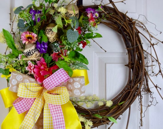Welcome Spring Blessings Sunburst Twig Grapevine with Burlap Eggs; Easter Wreath with Flowers; Floral Grapevine Yellow Home Door Decor