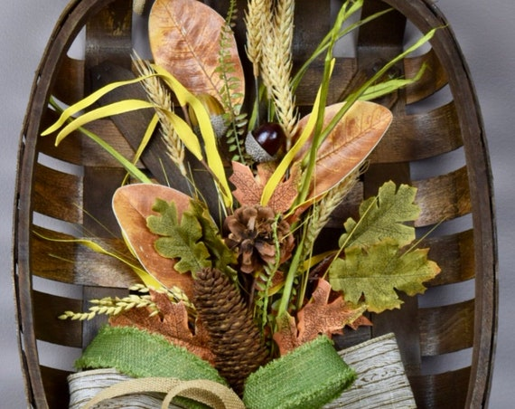 Fall Tobacco Basket with Wheat Pine Cones Leaves Acorns; Autumn Wreath Wall Decor; Fall Door Decor Wreath for; Autumn Wall Decor