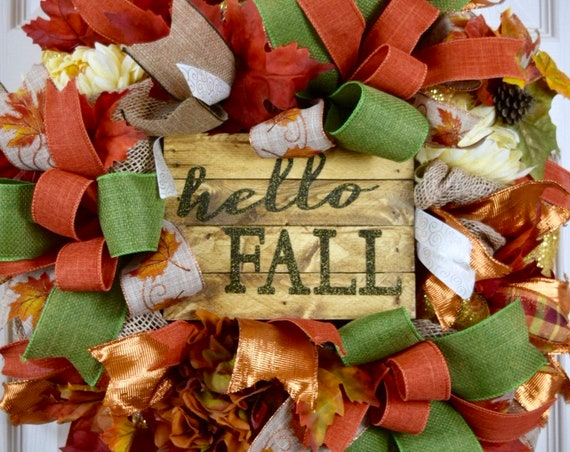 Hello Fall Rust Green Gold Orange Mesh and Burlap Wreath with Hydrangea Chrysanthemums and Leaves; Thanksgiving Door Decor; Fall Door Decor
