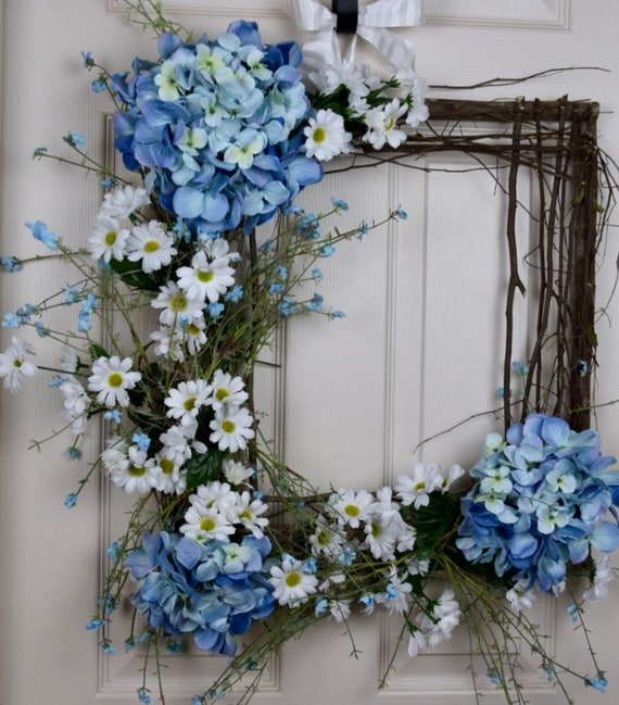 Blue Hydrangea Box Grapevine with Daisies and Wildflowers; Spring Wreath with Hydrangeas; Spring Door Decor; Square Vine Wreath Door Decor;