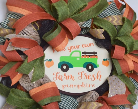 Pick Your Own Farm Fresh Pumpkins Mesh and Burlap Wreath with Rustic Pumpkins; Autumn Fall Wreath Door Decor; Thanksgiving Wreath Door Decor
