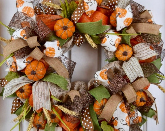 Orange Burlap and Mesh Wreath with Burlap Pumpkins and Wheat Sprays; Thanksgiving Door Decor; Fall Door Decor; Burlap Pumpkin Decor; Country