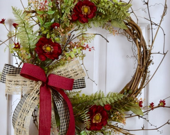 Burgundy, Burlap and Black Sunburst Twig Wreath; Primitive Country Door Decor Wreath; Rustic Grapevine Wreath with Foliage Burgundy Flowers