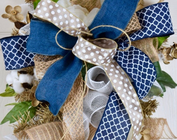 Navy and Beige Teardrop Swag Wreath with Burlap Flowers and Cotton Pods; Rustic Primitive Country Everyday Wreath Door Decor; Denim Burlap