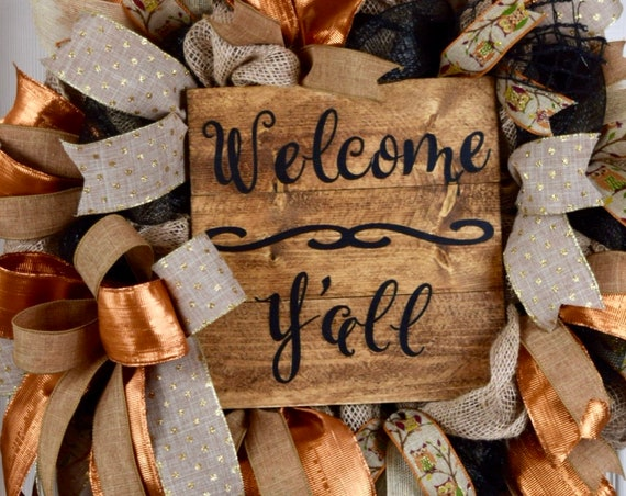 Welcome Y'all Black Burlap Owl and Metallic Rust Wreath; Primitive Country Wreath; Classic Rustic Wreath; Welcome Sign Everyday Owl Wreath