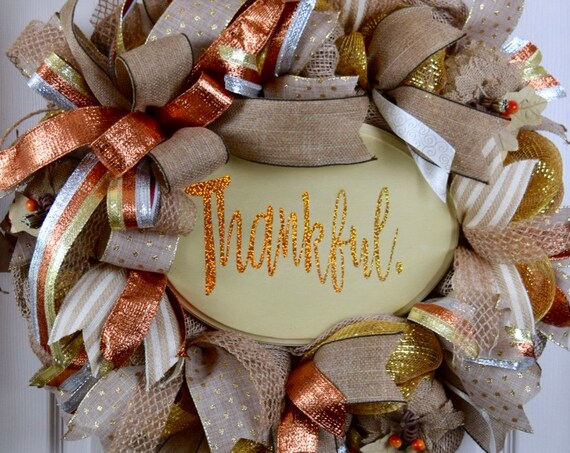 Thankful Burlap and Metallic Mesh Beige Copper and Gold Wreath with Burlap Pumpkins; Thanksgiving Wreath Door Decor; Fall Wreath Door Decor