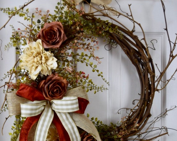 Rust Beige and Ivory Sunburst Grapevine with Dahlias and Roses; Primitive Country Door Decor Wreath; Rustic Grapevine Wreath Rust Flowers