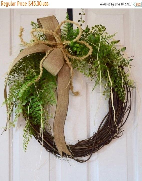 ChristmasInJulySale Foliage and Raffia Grapevine Wreath with Burlap Bow; Everyday Wreath; Floral Wreath; Spring Wreath Door Decor; Summer Wr