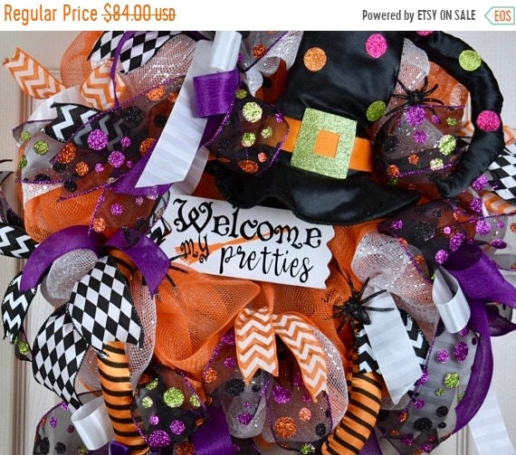ChristmasInJulySale Welcome My Pretties Witch Hat and Legs Mesh Wreath with Glitter Spiders; Halloween Witch Decor Wreath; Fall Decor Wreath