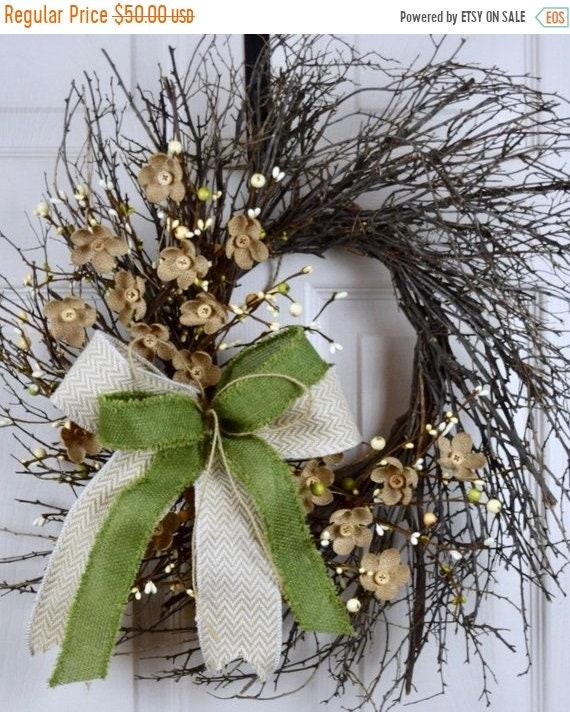 ChristmasInJulySale Green Beige Cream Sunburst Grapevine with Burlap Flowers; Country Door Decor; Primitive Wreath Rustic Vine Flowers Butto