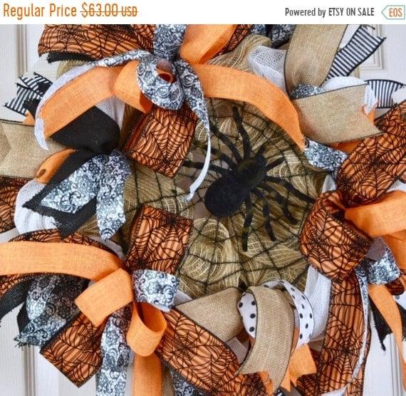 ChristmasInJulySale Orange Black and Jute Burlap Spider Web Wreath; Fall Wreath Fall Door Decor Halloween Wreath Door Decor; Spider Wreath D