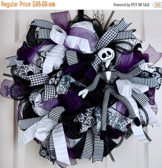 ChristmasInJulySale Jack Skellington Black White and Purple Mesh Wreath with Roses and Spiders; Fall Wreath Fall Door Decor Halloween Skelet